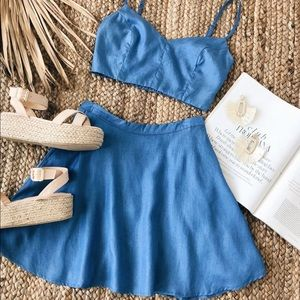 2 piece chambray outfit